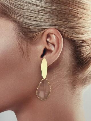 oorbellen met hanger van kristal